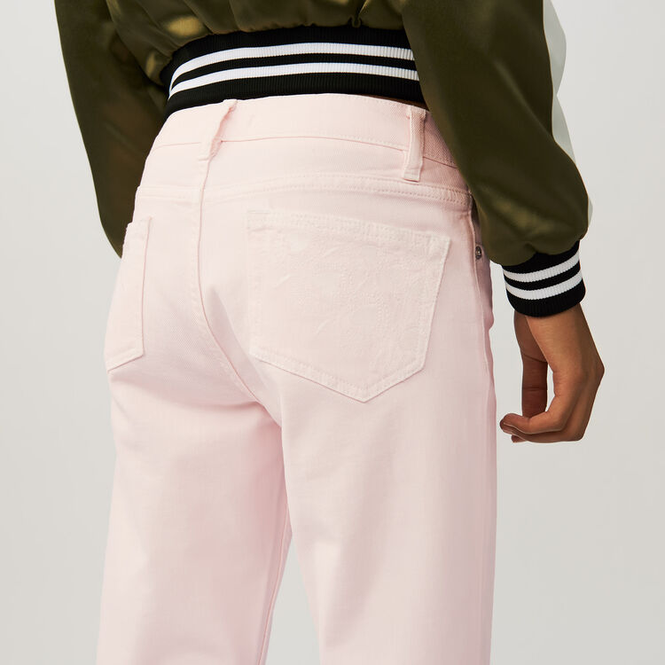 Boyfriend jeans with embroideries : Jeans farbe Rosa