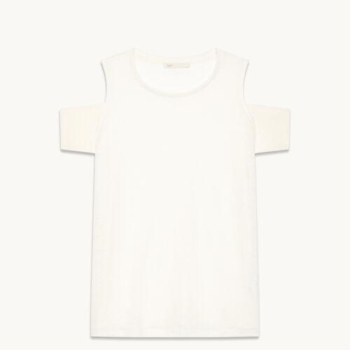 T-Shirt aus Leinen mit freien Schultern - null - MAJE