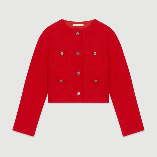 Kurze Jacke mit Tweed-Effekt : Blazers farbe Rot