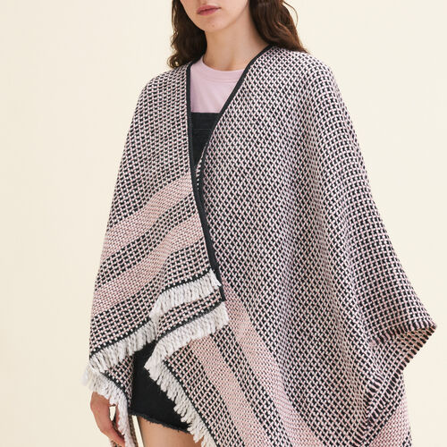 Poncho aus gemustertem Strick : Accessoires farbe Rosa