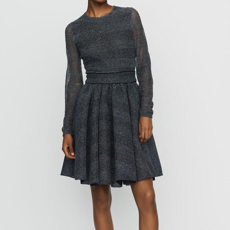 Skaterkleid aus Basket-Strick : Kleider farbe Grau