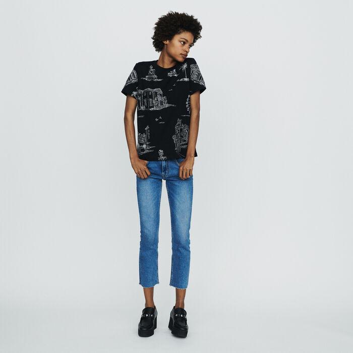 T-Shirt mit Allover Paris Print : T-Shirts farbe SCHWARZ