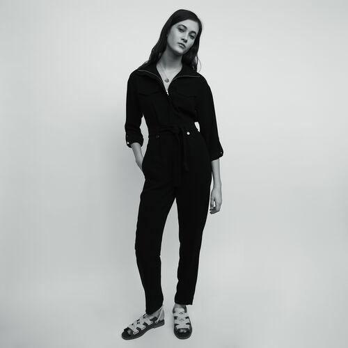 Jumpsuit aus Krepp : Hosen farbe Schwarz