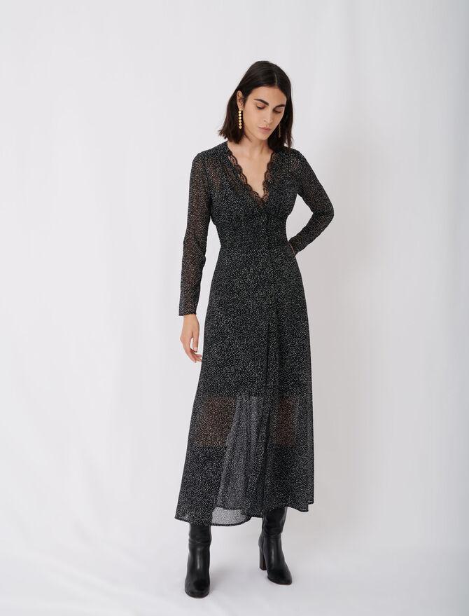 Jacquard-Kleid mit Samt und Punktmuster - Pixie's story - MAJE
