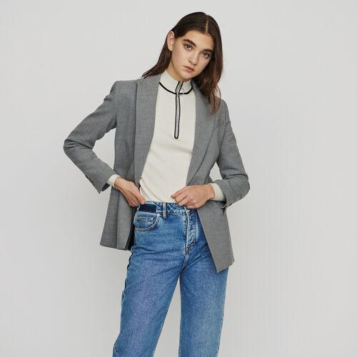 Langer Blazer aus Mischwolle : Blazers farbe Grau