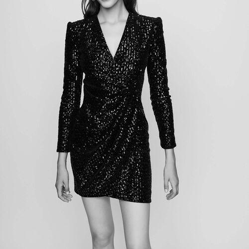 Wickelkleid aus besticktem Samt : Kleider farbe Schwarz