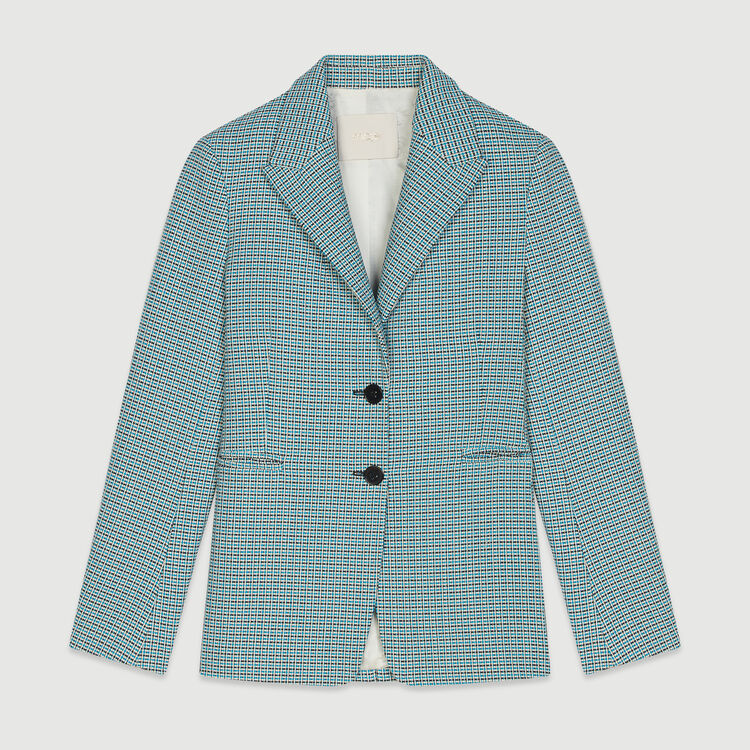 Blazer aus Natté-Gewebe mit Tweed-Effekt : Blazers farbe Blau
