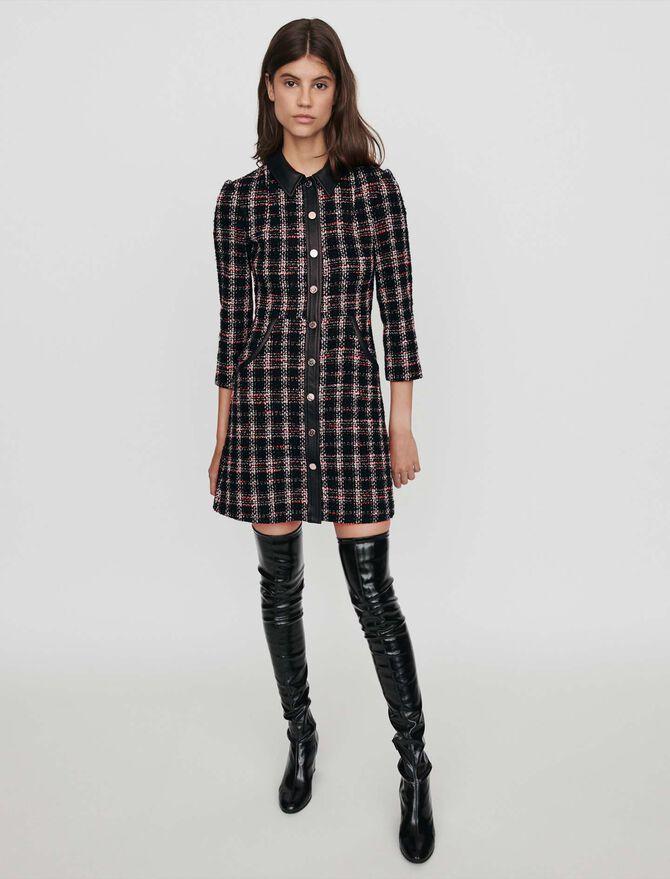 Kleid mit konstrastierenden Tweed - LastchanceUK_20 - MAJE