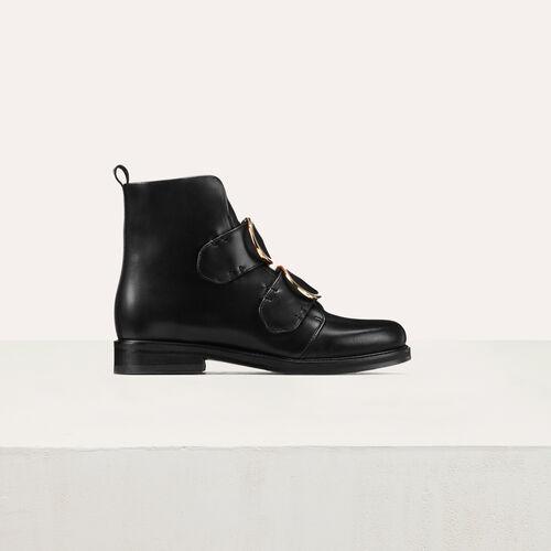 Lederstiefelette mit Doppelriemen : Schuhe farbe Schwarz