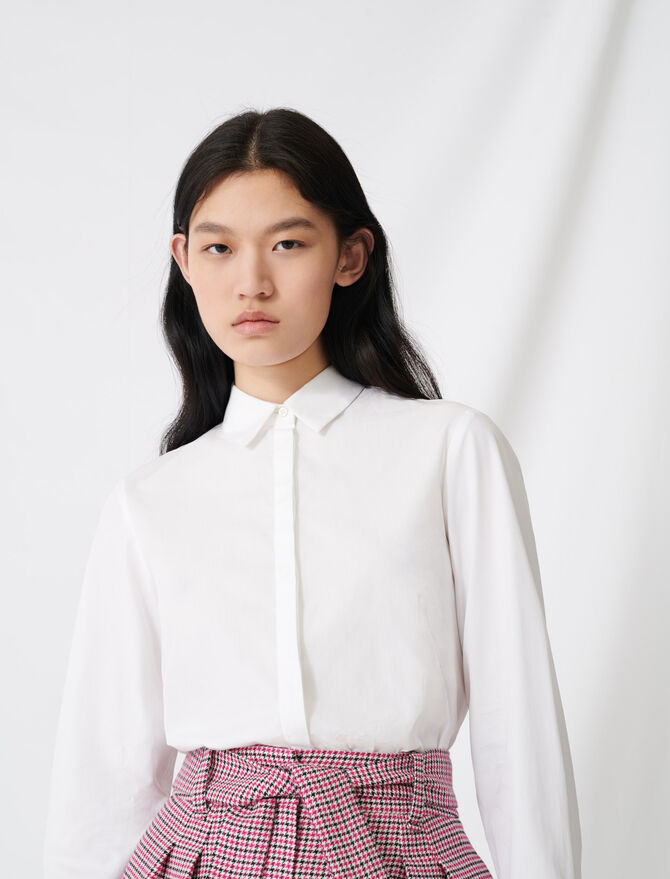 Weißes Hemd aus Popeline - Tops & Hemden - MAJE