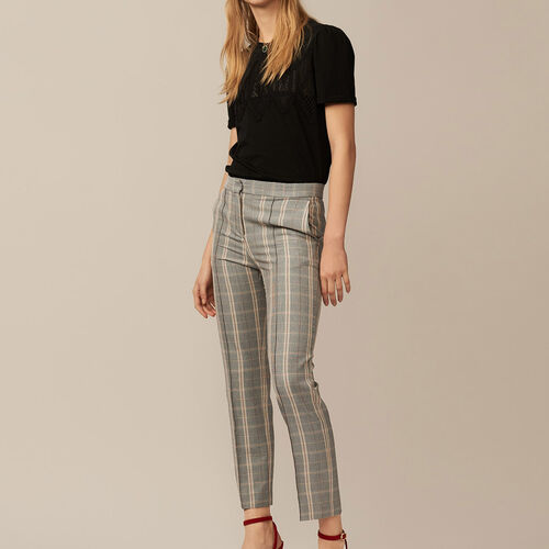 Gerade geschnittene Hose mit Karomuster : Hosen farbe CARREAUX