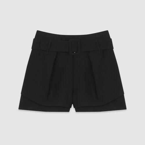 Gestreifter Trompe-l'oeil-Short : Röcke & Shorts farbe Schwarz