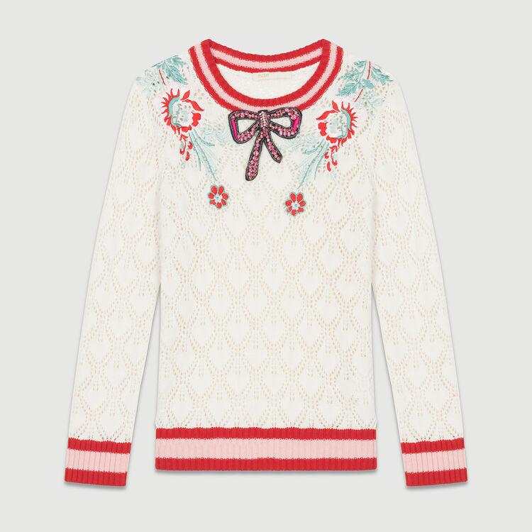 Ajour-Pullover mit edlen Details : Strickwaren farbe ECRU