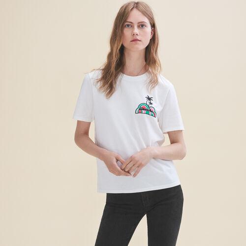 T-Shirt mit Stickerei Sonntag : T-shirts farbe Weiss