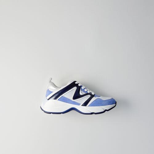 W22 mixed material sneakers : Sneakers farbe Blau