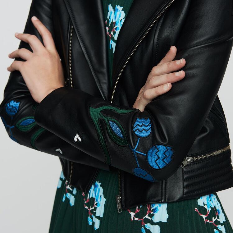 Bestickte Lederjacke : Jacken farbe SCHWARZ