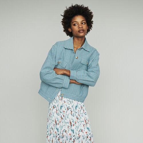 Blouson aus Leinen-Natté : Jacken farbe Blau