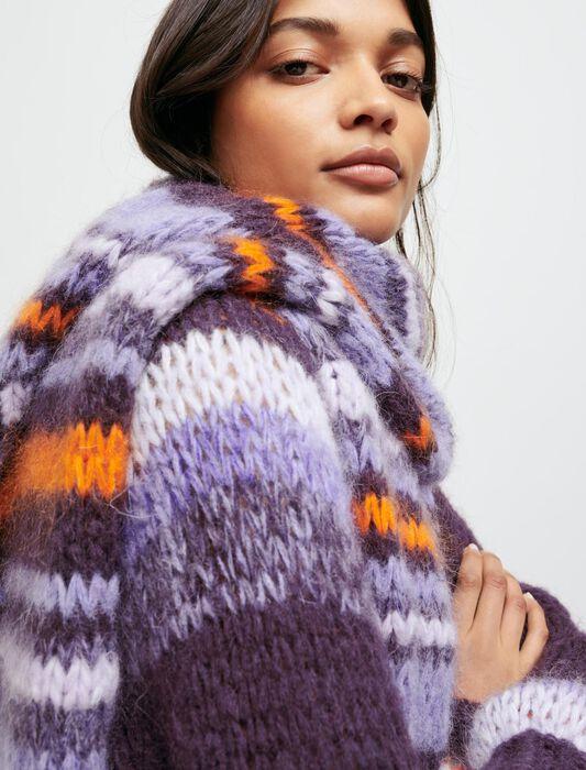 Langer Strickschal mit Streifen : Schals & Ponchos farbe Violett