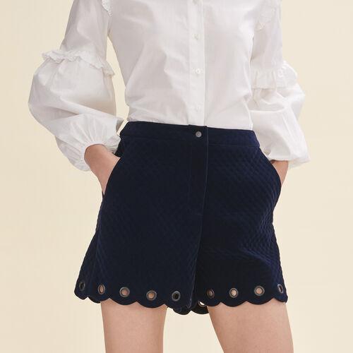Shorts aus abgestepptem Samt : Jupes & Shorts farbe Marineblau