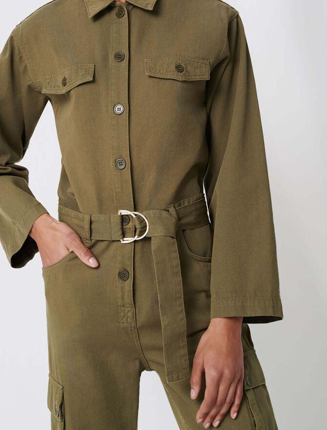 Workwear-Jumpsuit im Army-Esprit - Jumpshort & Jumpsuit - MAJE