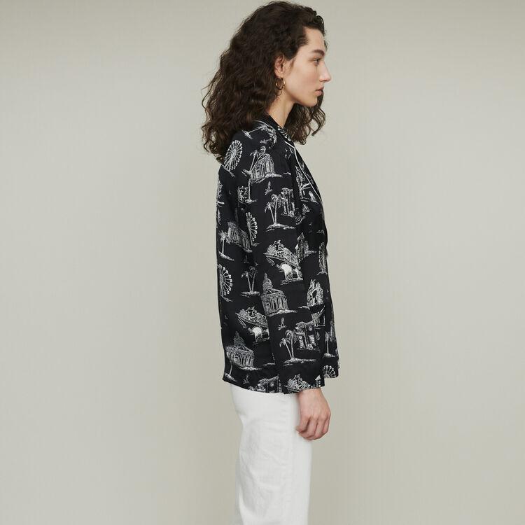 Bluse mit Paris Print : Tops & Hemden farbe SCHWARZ