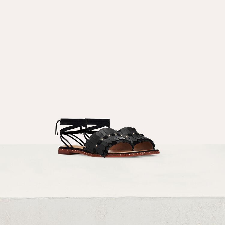 Flache Sandalen mit Schnürung : Flache Schuhe farbe Schwarz