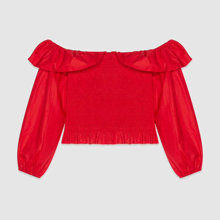 Smocked top with bare shoulders : Tops farbe Rot