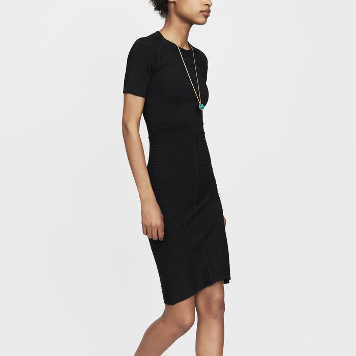 Kleid aus Stretch-Strick : Bekleidung farbe Schwarz