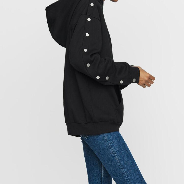Kapuzen-Sweatshirt mit Druckknöpfen : Sweatshirts farbe Schwarz