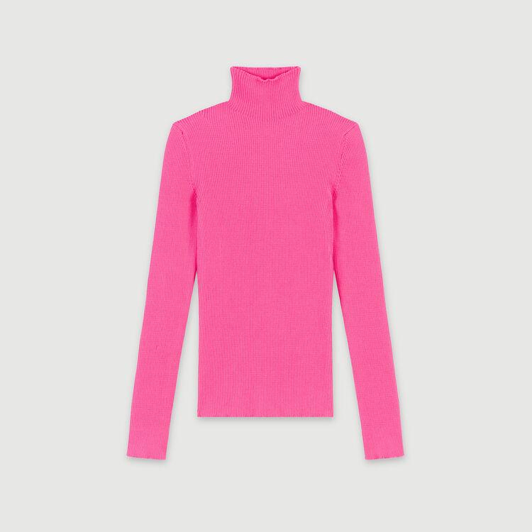 Feinstrick Pullover mit Stehkragen : Pullover & Strickjacken farbe Fluo-Rosa