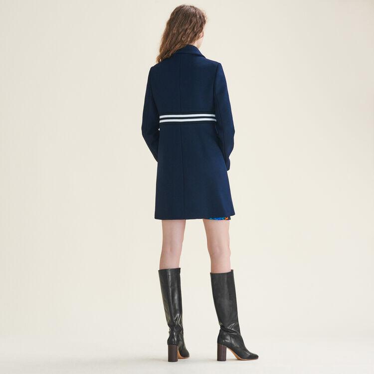 Abrigo recto de lana y cachemira : Manteaux farbe Marineblau