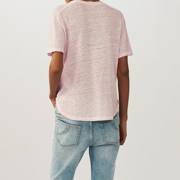 Loose Leinentop : T-Shirts farbe LILAS