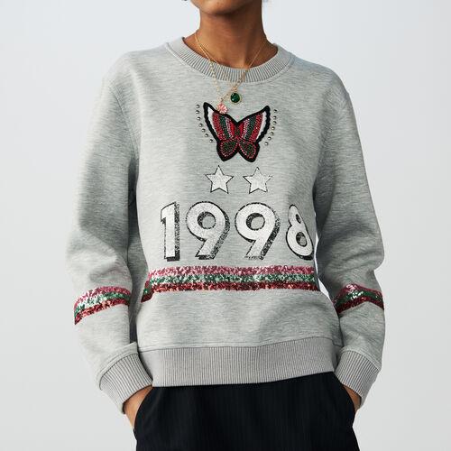 Baumwoll-Sweatshirt : Strickwaren farbe Grau