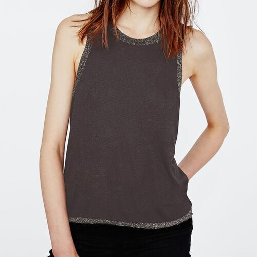 Kurzarm-top mit spitze : T-shirts farbe Schwarz