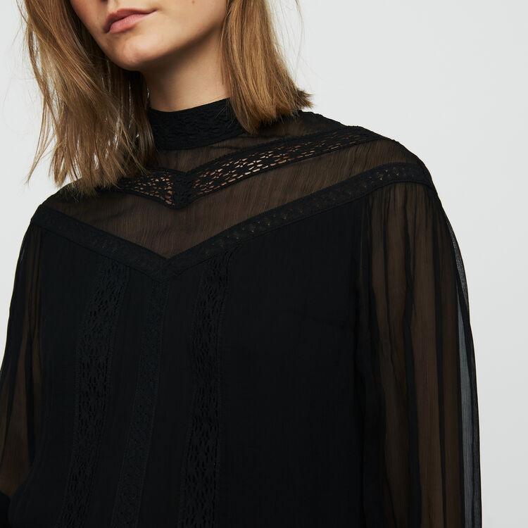 Voile-Bluse mit Stickerei : Tops farbe Schwarz