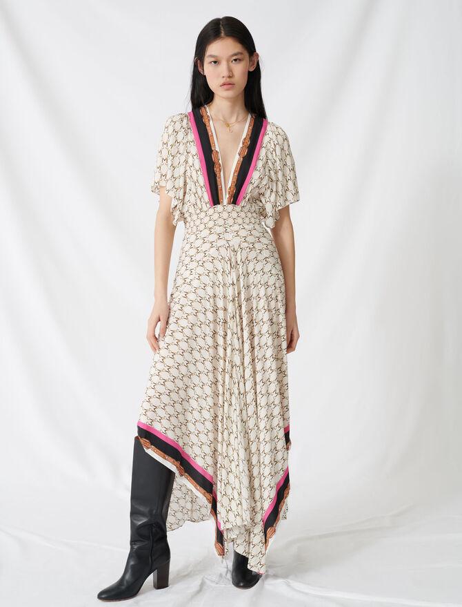 Kleid aus Musselin mit Halstuchprint - Kleider - MAJE