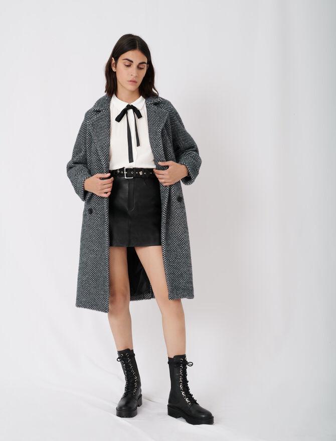 Karierter Mantel aus Tricotine - Neue Kollektion - MAJE