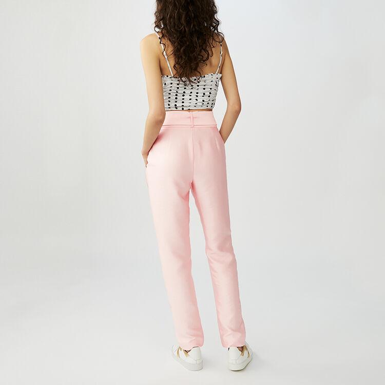 Bundfaltenhose mit Gürtel : Hosen farbe Rosa