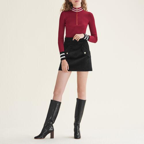 Feinstrickpullover mit Reißverschluss : Pulls & Cardigans farbe Burgunderrot