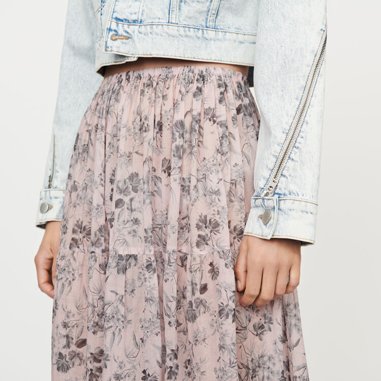 Jupe longue à fleurs en voile de coton : Röcke & Shorts farbe LILA