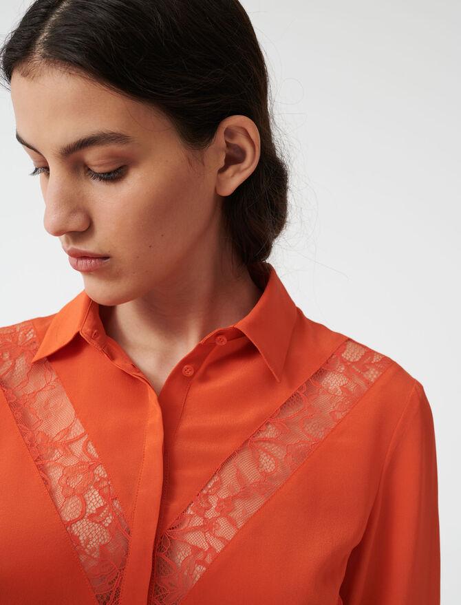 Hemd mit Spitzeneinsätzen - Tops & Hemden - MAJE