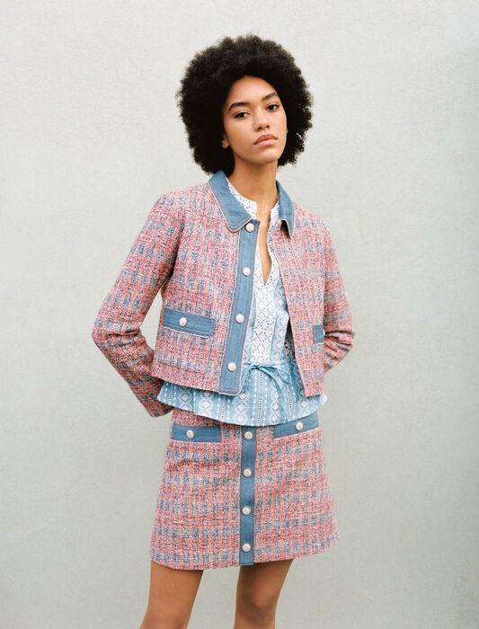 Jacke in Tweed-Optik mit Jeanskontrasten : Blazers farbe Rot