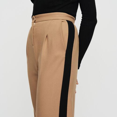 Bundfaltenhose mit Streifen : Hosen farbe Camel
