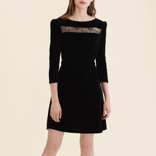 Kleid aus Velours und Spitze : Neuheiten farbe Schwarz