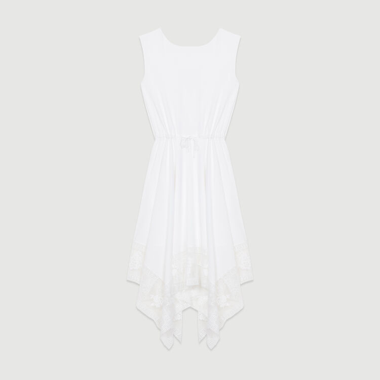 Langes ärmelloses Spitzenkleid : Bekleidung farbe Weiss