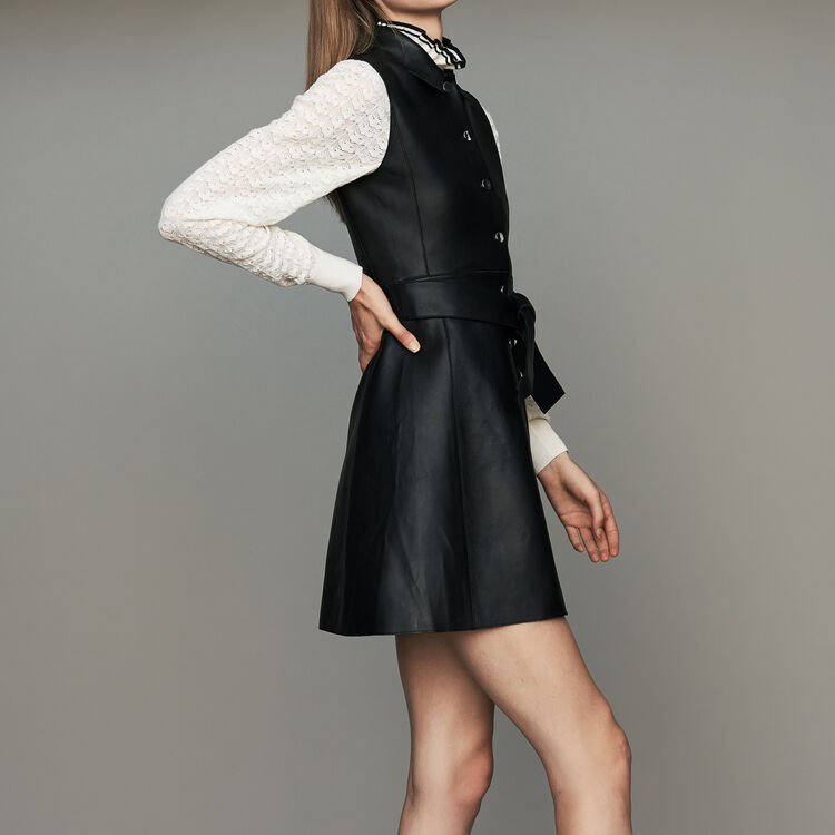 Ärmelloses Hemdkleid aus Leder : Kleider farbe Schwarz
