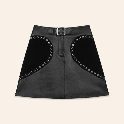 Ausgestellter Lederrock : null farbe Schwarz