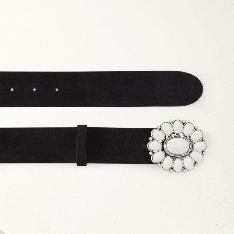 Gürtel mit Blumenschnalle : Gürtel farbe Schwarz