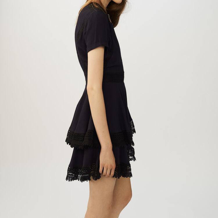 Rüschenkleid mit Spitzendetails : Kleider farbe Marineblau
