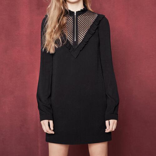 Kurzes Kleid mit Kragen : Kleider farbe Schwarz